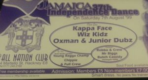 Jamaica 37th Independence Dance flyer